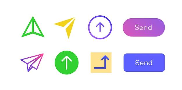 Enviar ícone seta vetor definido estilo de cor isolado no fundo para simulação de interface de e-mail do site do telefone