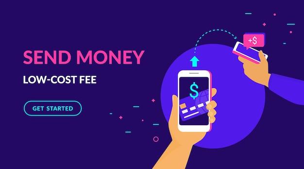 Envie dinheiro com taxa de baixo custo ilustração vetorial plana de néon para web e design de celular com texto e botão