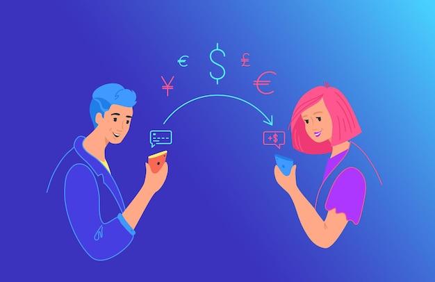Envie dinheiro gradiente ilustração vetorial de néon para web e design de celular. casal enviando dinheiro do cartão de crédito no smartphone para um amigo na carteira móvel via app. jovens adolescentes com símbolos financeiros