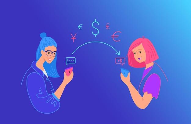 Envie dinheiro gradiente ilustração vetorial de néon para web e design de celular. mulher enviando dinheiro do cartão de crédito no telefone inteligente para um amigo na carteira móvel via app. jovens adolescentes com símbolos financeiros