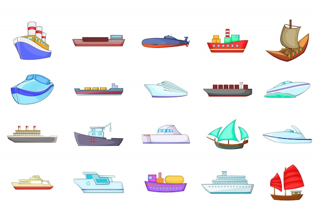 Envie o conjunto de elementos. conjunto de desenhos animados de elementos do vetor de navio