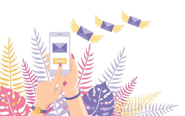 Envie ou receba sms, carta, mensagem com telemóvel branco. envelope voador com asas