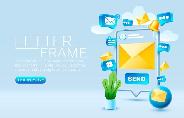 Envie uma mensagem de e-mail smartphone tecnologia de tela móvel vetor de exibição móvel