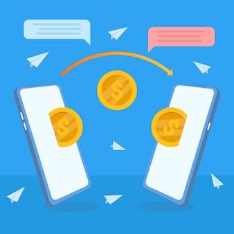 Envio de dinheiro da carteira eletrônica, pagamentos móveis on-line usando o telefone. transações bancárias e tecnologia digital.