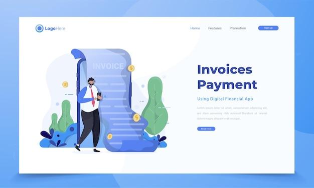 Envio de faturas de pagamento usando o conceito de aplicativo financeiro móvel
