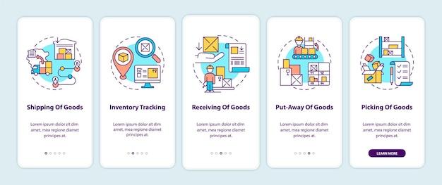 Envio de mercadorias, recebimento da tela da página do aplicativo móvel de integração com ilustrações de conceitos