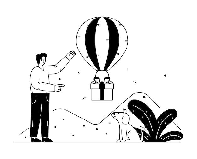 Envio de presente via linha editável de balão de ar quente e ilustração sólida