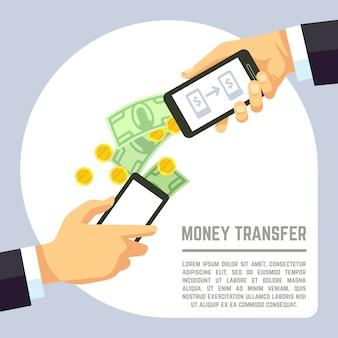 Envio e recebimento de dinheiro sem fio com telefones celulares e aplicativos de pagamento bancário