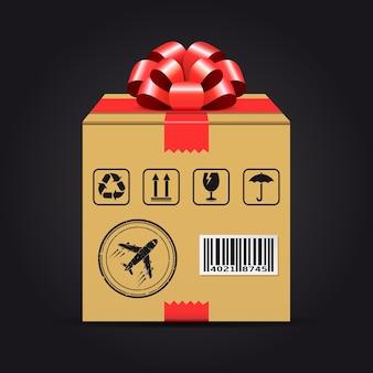 Envio em caixa de papelão com laço vermelho. conceito de entrega de presente.