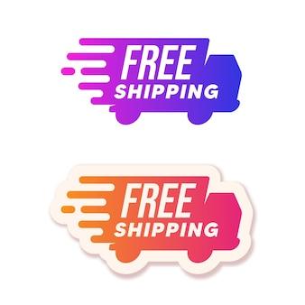 Envio grátis. conjunto de logotipo de caminhões de entrega
