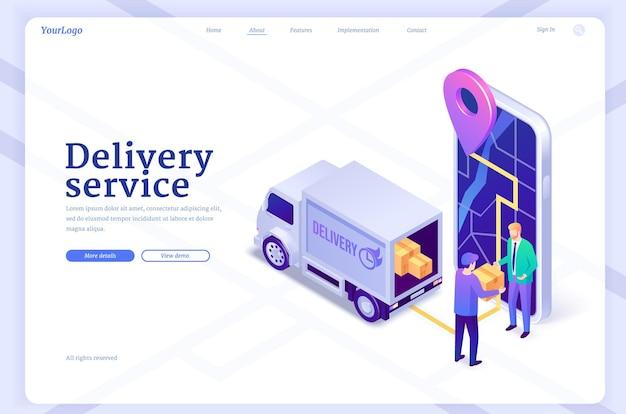 Envio isométrico da página de destino do serviço de entrega