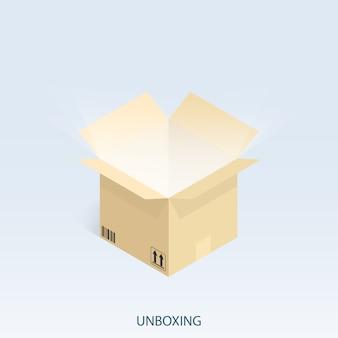 Envio on-line de compras, vetor isométrica unboxing