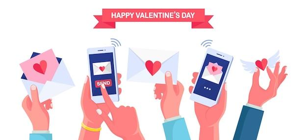 Envio ou recebimento de cartas de amor, mensagem, sms por telefone. feliz dia dos namorados. envelope com coração vermelho