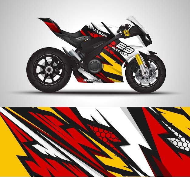 Envoltório do decalque da motocicleta e ilustração da etiqueta do vinil.