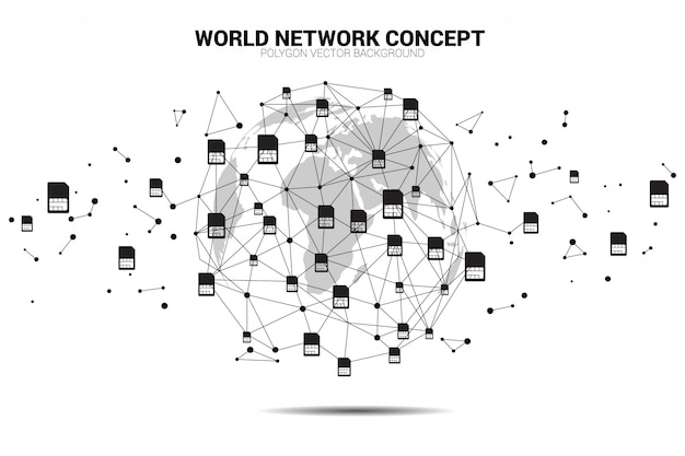 Envoltório do globo do mundo do ponto do polígono com ponto conecte a linha dada forma e o ícone do cartão do sim.