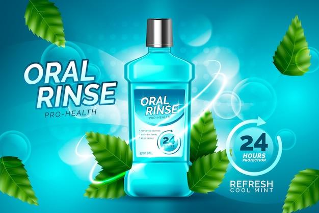 Enxaguante bucal realista para cuidados dentários