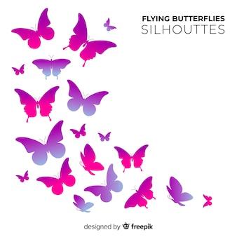 Enxame de silhuetas de borboleta