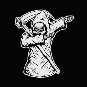 Enxugando a ilustração de vetor de crânio de morte
