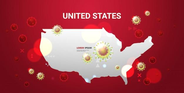Epidemia de gripe disseminação de células flutuantes do vírus influenza no mundo wuhan coronavírus pandemia risco médico à saúde estados unidos mapa horizontal