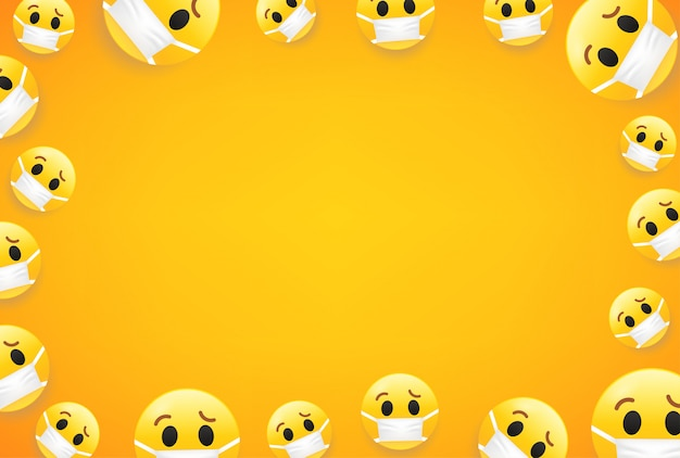 Epidemia. papel de parede com emojis. quadro de vetor com espaço de cópia para sites de mídia social ou banners