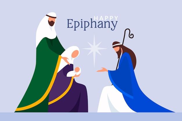 Epifania desenhada à mão com três reis magos