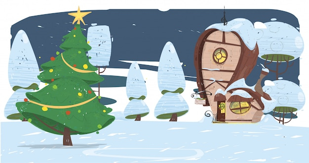Época natalícia. casa de papai noel e abeto