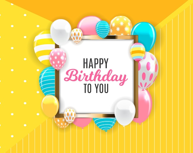 Eps10 brilhante feliz aniversário balões ilustração vetorial de fundo