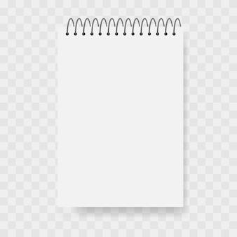 Eps10 de vetor de maquete de caderno simples em fundo transparente