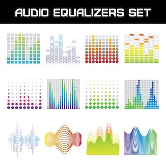 Equalizador de áudio brilhante conjunto com ilustração em vetor isoladas plana de símbolos de ondas sonoras