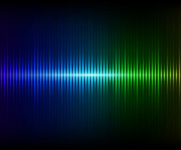 Equalizador de brilho digital azul esverdeado. ilustração vetorial com efeitos de luz em fundo escuro