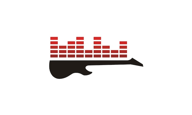 Equalizador de guitarra e som para o logotipo de gravação de estúdio