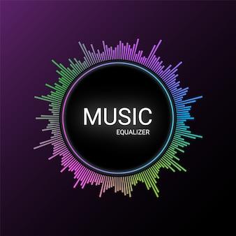 Equalizador de música no gradiente de roxo