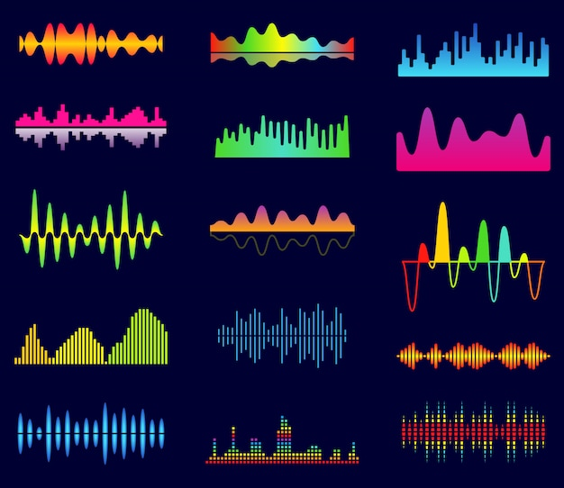 Equalizador de música, ondas analógicas de áudio, frequência de som de estúdio, forma de onda do leitor de música