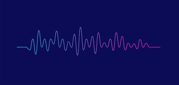 Equalizador de onda sonora isolado em voz de fundo roxo e conceito de áudio de música