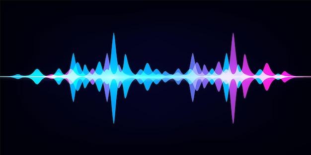 Equalizador de ondas sonoras. espectro de áudio moderno. onda de pulso digital abstrata. forma de onda vetorial em fundo escuro, como padrão digital de trilhas sonoras