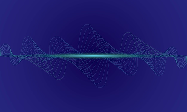 Equalizador digital abstrato azul, vetor de onda sonora