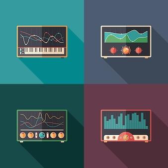 Equalizadores de áudio plano conjunto de ícones quadrados.