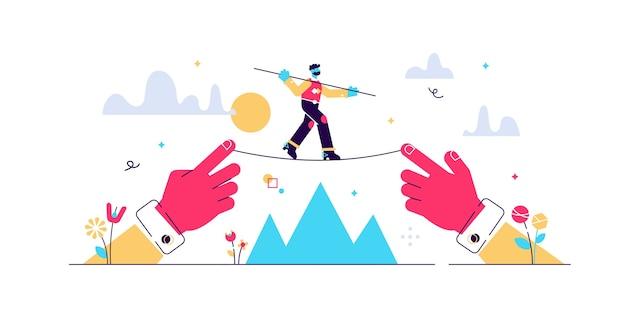 Equilibrando a ilustração de risco. estratégia de negócios com o conceito de pessoas minúsculas plana de visão precisa. movimentos econômicos perigosos para obter crescimento, lucro e desenvolvimento. possibilidade de crise de investimento.