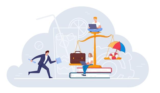 Equilibre a escala entre trabalho árduo de escritório e descanso nas férias. pessoas de negócios ou trabalhador autônomo com laptop e desequilíbrio a favor do trabalho, crescimento da carreira e ilustração vetorial de estilo de vida agitado