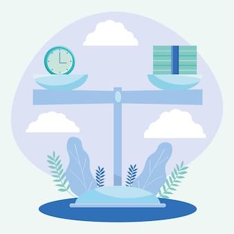 Equilibre a ilustração com escala com relógio e dinheiro