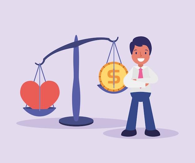 Equilibre com coração e moeda com ilustração de estilo cartoon de homem