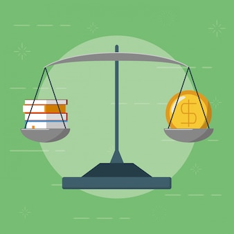 Equilibre com dinheiro e livros, estilo simples