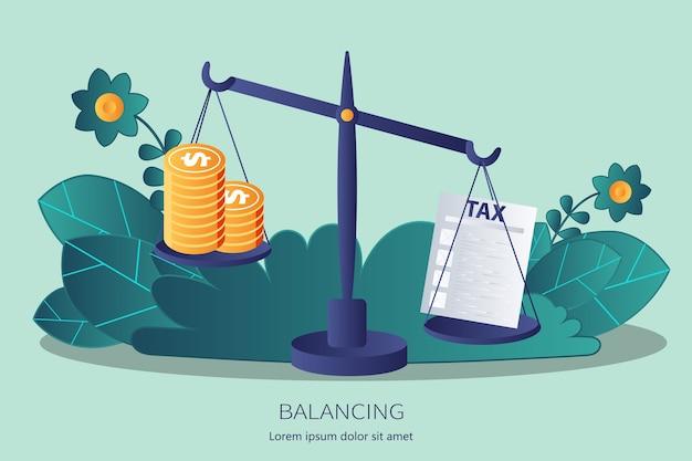 Equilíbrio de dinheiro com impostos em escalas