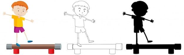 Equilíbrio de pé menino com seu contorno e silhueta