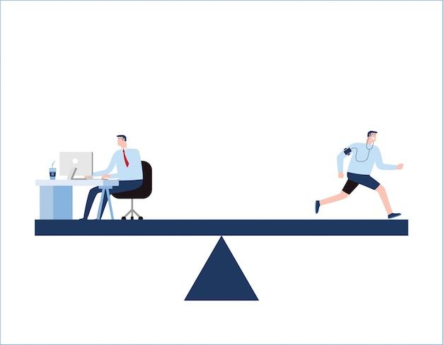 Equilíbrio de vida de trabalho escalas escolha de negócios e estilo de vida.