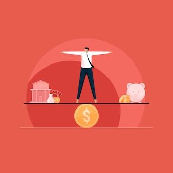 Equilíbrio entre despesas de poupança e empréstimos bancários e gestão financeira