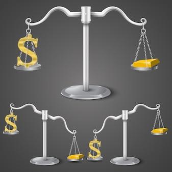 Equilíbrio entre dólar e ouro.
