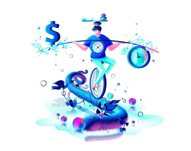 Equilíbrio interno na mão harmonia entre cifrão dinheiro e relógio de ponto artista de circo andando de gerenciamento de corda de monociclo