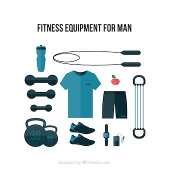 Equipamento aptidão azul para os homens