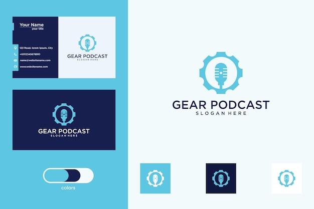 Equipamento com design de logotipo de podcast e cartão de visita